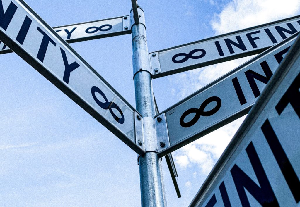 street signs with infinity symbol